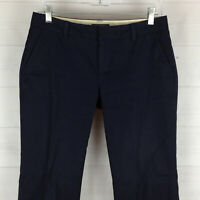 Banana Republic womens size 4 stretch navy blue flat front low rise flare pants