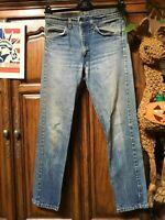 Levi's 505 Jeans Distressed Faded 70's Hippie Boho punk Hobo Denim 30x30