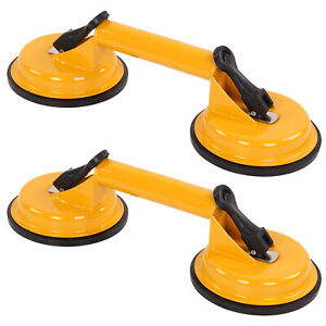 2PC Dual Suction Cup Aluminium Glass Lifter Sucker Pad Carrying Grabbing Puller