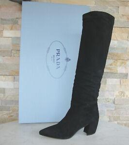 luxus PRADA Gr 36 Stiefel Boots Schuhe 1W879I schwarz Ziege NEU ehem. UVP 990 €