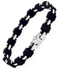 JOJINO ITALY JOE RODEO MENS RUBBER / SILVER STAINLESS STEEL LINK BRACELET RARE
