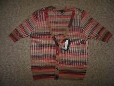 NWT Worthington Womans Large Brown Orange Mid Sleeve Button Cardigan Sweater