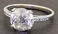 EGL USA 14K WG 3.15CT diamond wedding/engagement ring w/ 3.05CT ctr. size 6.75