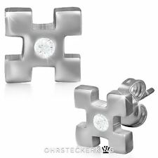 Ohrstecker Kreuz griechisch mit Zirkon aus Edelstahl Neu