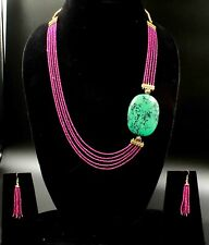 5 Strand Natural Ruby And Natural Turquoise Designer Necklace Gold Plated Clasp