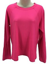 Sun Protection Zone Long Sleeve Crew Neck Women's Shirt Hot Pink Size XL