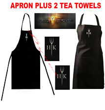 Hell's Kitchen Hells Textile Kitchen BBQ Apron and 2 Tea Towel Cook Set Gift