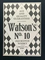 1904 Newspaper Clipping WATSON'S No. 10 OLD SCOTCH WHISKY, JAMES WATSON, DUNDEE