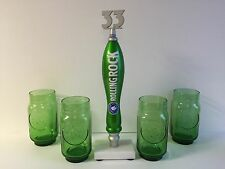 Rolling Rock 33 Beer Tap Handle & Four(4) Embossed Green Glasses ~ NEW & F/Ship.