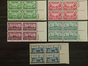 Hondo * Scott 785-89 * 1936 1c to 5c Army Plate Blk Set * MNH & MSH/OG/XF-Supb