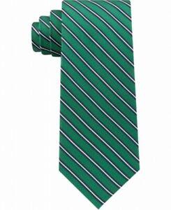 Tommy Hilfiger Men's Neck Tie Green Tricolor Striped Skinny Slim Silk $69 #367