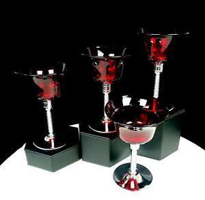 "NEW MARTINSVILLE RUBY RED ELEGANT GLASS CHROME STEM 4 PC 4 7/8"" WINE GLASSES"