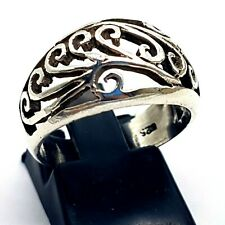 Sterling Silver Filigree 11.5mm Wide Band Ring - UK Size P - 4.7g -