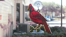 Sun Catcher Red Cardinal Bird Gift Stained Glass Plastic Brand New