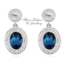 18K White Gold Filled Made With Swarovski Crystal Oval Round Sapphire Earrings