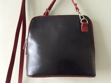 VERA PELLE real Italian leather ladies small black and red messenger shoulderbag