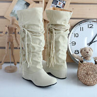 New Women's Winter Warm Snow Boots Suede Tassel Mid-calf Boots Flat Shoes