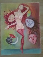 Original pastel,pencil color painting on paper, Girls masquerade,figurative art