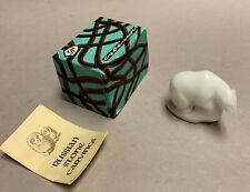 "Vintage Polar Bear Figurine, Carved Stone, White Gypsum, Ussr, 2 1/2"", Orig Box"