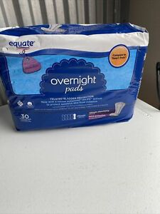Equate Overnight Contoured Pads, 30 Count