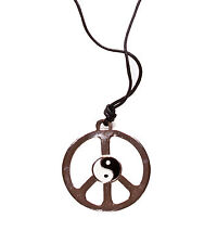 HIPPY LONG BLACK STRING NECKLACE LARGE SILVER METAL PEACE SIGN CHARM (ZX5/47)