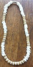 White Puka Shell Chips Beach Surfer Necklace 18 inch TAN Accent Beads