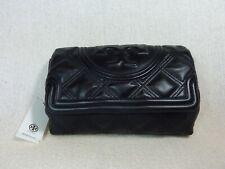 Tory Burch Fleming Black Soft Leather Clutch Bag