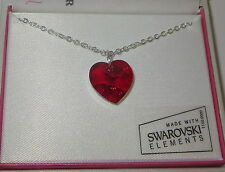 "Red Crystal Heart Necklace New 18"" Silver Tone Chain Made with Swarovski Element"