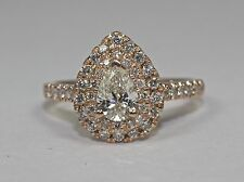 14k Rose Gold Pear Diamond Double Halo Round Diamond Engagement Ring Size 6.25