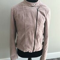 Maurices Womens Asymmetrical Zip Up Jacket Pink Size M Lined Soft Long Sleeve
