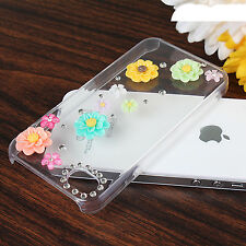 TPU Transparent Rhinestone Brightly Flowers Case Cover Skins For iPhone 4 4S