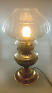 Vintage Oil Lamp with clear, profiled Glass Shade, Converted To Electric: 50cm