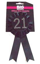 Happy 21st BIG Birthday Glitzy Rosette Award Ribbon BLACK with Diamantes