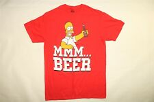 THE SIMPSONS Men's Short Sleeve Bart Simpson Tee T-Shirt MMM BEER - RED - MEDIUM
