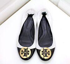 Tory Burch Women's Reva Black/White Ballet Flats, Gold Logo Retail $225 Size 8M
