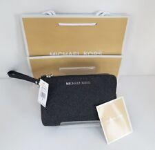 Michael Kors Jet Set Travel Large Double Gusset Wristlet Black Leather