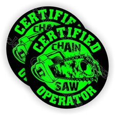 CHAINSAW Operator Hard Hat Stickers ~ Funny Helmet Decals Chain Saw Blade Labels