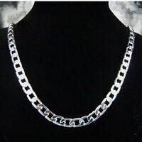 Herren Panzerkette Halskette 10mm 925 Sterling Silber plattiert Schmuck Kette