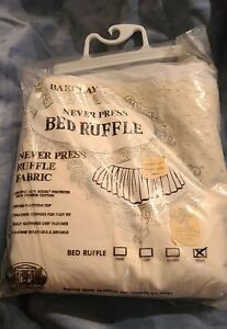 Vintage Barclay Bed Skirt Dust Ruffle KING Size Bone Ivory Eyelet Lace NEW NOS