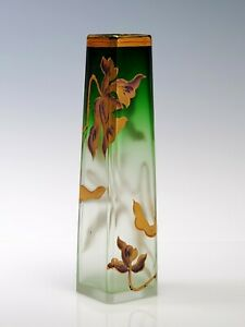 "Moser Cut Crystal - Green to Clear - 5"" Tall Cabinet Vase Gold Flower"