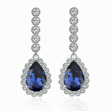 Crystal Sapphire Blue/Clear Dangle Earring 18K White Gold Plated Cz/Austrian