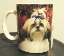 Coffee Mug Shih Tzu Puppy Toy Dog Lover Cup Blue Bow Pony Tail Collectible Rare