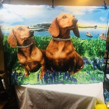 Dachshund Throw Blanket Island Sunset Water Scene 57x43 Approx Boats Floral Dog