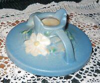 Vintage Roseville Blue Cosmos Candlestick Holder 1136