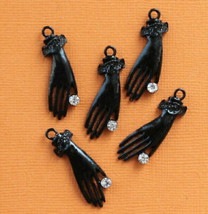 2 Hand Charms Black Enamel and CZ Rhinestone So Elegant - SC2888
