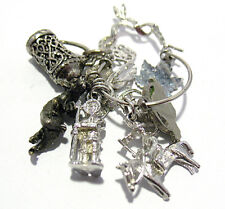 STERLING SILVER CHARM HOLDER 9 CHARMS MIXED THEME 25.6 GRAMS
