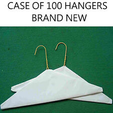 "100 NEW 16"" Clothing Caped Wire Clothes Hangers  Shirt / Jacket Paper Hangers"