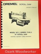 "DREMEL Model 1671 16"" Scroll Saw Operator's & Parts Manual 0280"
