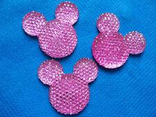 5 x 35mm Rosa Glitter Resina Piatto Indietro Mouse Testa Gemme FASCE Card Making Fiocchi