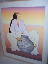 "RC GORMAN Navajo ""SALINA"" Signed Limited Edition Lithograph Art '89 New Mexico"
